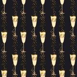 Modèle sans couture léger élégant avec des verres de vin mousseux Photo stock
