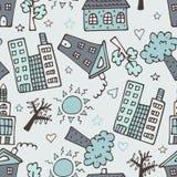 Modèle sans couture léger avec des gratte-ciel, des maisons et des arbres illustration stock