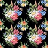 Modèle sans couture - l'été sauvage fleurit sur le noir Illustration Stock