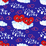 Modèle sans couture les coeurs sur un nuage Illustration de vecteur Image libre de droits