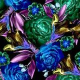 Modèle sans couture lumineux avec des fleurs Rose iris Illustration d'aquarelle Images libres de droits