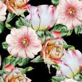 Modèle sans couture lumineux avec des fleurs Rose mauve Illustration d'aquarelle Images libres de droits