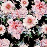 Modèle sans couture lumineux avec des fleurs Rose Pivoine mauve Illustration d'aquarelle Images libres de droits