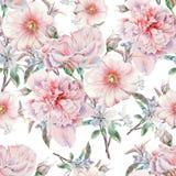 Modèle sans couture lumineux avec des fleurs Rose Pivoine mauve Illustration d'aquarelle Images stock