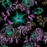 Modèle sans couture lumineux avec des fleurs Rose succulents mauve Illustration d'aquarelle Images libres de droits