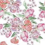 Modèle sans couture lumineux avec des roses Illustration d'aquarelle Photo libre de droits