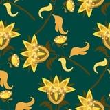 Modèle sans couture lumineux avec les éléments floraux Photo stock