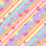 Modèle sans couture lumineux avec les rayures, les étoiles et les coeurs colorés pour des filles illustration stock