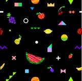 Modèle sans couture lumineux coloré avec différents fruits et éléments géométriques dans le style tribal de Memphis Illustration de Vecteur