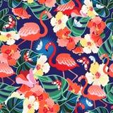 Mod?le sans couture lumineux des flamants et des papillons de tropiques illustration stock