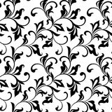 Modèle sans couture luxueux Motif végétatif Remous et feuillage de noir d'isolement sur un fond blanc Images libres de droits