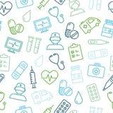 Modèle sans couture médical et de soins de santé d'icônes Image libre de droits
