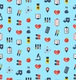 Modèle sans couture médical, icônes colorées simples plates Photo libre de droits