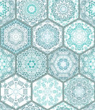 Modèle sans couture magnifique de patchwork de collection d'ornement de plancher de tuiles de vert bleu Photo stock