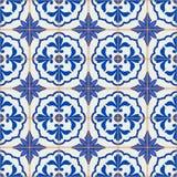Modèle sans couture magnifique de patchwork des tuiles marocaines et portugaises bleu-foncé et blanches, Azulejo, ornements illustration de vecteur