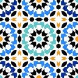 Modèle sans couture magnifique des tuiles marocaines bleues, ornements Images stock