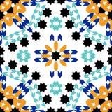 Modèle sans couture magnifique des tuiles marocaines bleues, ornements Photos libres de droits