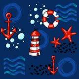 Modèle sans couture marin de bande dessinée tirée par la main avec des bouées de sauvetage phare et étoiles de mer d'ancres illustration libre de droits