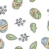 Modèle sans couture matériel naturel de savon et de shampooing Produit ?cologique et de z?ro-d?chets Maison verte et vie sans pla illustration stock
