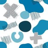 Modèle sans couture Memphis Blue et Grey Elements illustration de vecteur