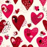 Modèle sans couture mignon abstrait avec les coeurs peints chaotiques Texture de vecteur de jour du ` s de Valentine Photos libres de droits