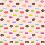 Modèle sans couture mignon avec des macarons Fond de vecteur Bonbons français Macaron coloré Modèle rose Image stock