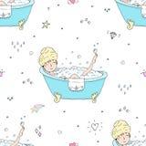 Modèle sans couture mignon avec la jeune belle femme prenant le bain illustration stock