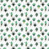 Mod?le sans couture mignon avec le cactus et les ?l?ments abstraits R?p?tition du fond tir? par la main Conception dernier cri de illustration stock