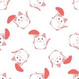 Modèle sans couture mignon avec le chat et le parapluie Photo stock