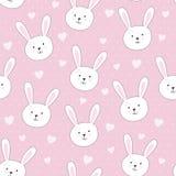 Modèle sans couture mignon avec le lapin dans le style puéril illustration libre de droits