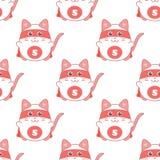Modèle sans couture mignon avec le surhomme de chat Images libres de droits