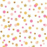 Modèle sans couture mignon avec les cercles et les étoiles roses et d'or illustration de vecteur