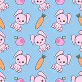 Modèle sans couture mignon avec les lapins drôles de bande dessinée Fond puéril Illustration de kawaii de vecteur illustration de vecteur