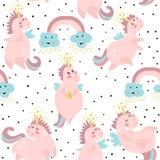 Modèle sans couture mignon avec les licornes féeriques Texture puérile pour le tissu, textile Type scandinave Illustration de vec Photographie stock