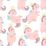 Modèle sans couture mignon avec les licornes féeriques Texture puérile pour le tissu, textile Type scandinave Illustration de vec Photo stock