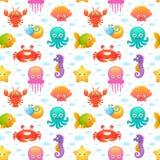 Modèle sans couture mignon d'animaux de mer illustration de vecteur