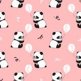 Modèle sans couture mignon d'ours panda et de ballons Images stock