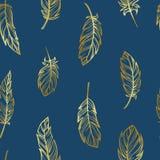 Modèle sans couture mignon de boho avec les plumes d'or illustration de vecteur