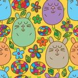 Modèle sans couture mignon de chat d'oreille de lapin Photos stock