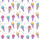Modèle sans couture mignon de crème glacée de vecteur Image libre de droits