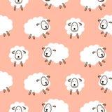 Modèle sans couture mignon de fille de vecteur de moutons de bébé Image stock