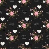 Modèle sans couture mignon de la valentine s avec des coeurs Je t'aime à la lune et au dos Photo libre de droits