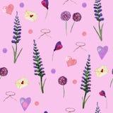 Modèle sans couture mignon de lavande et de wildflowers illustration libre de droits