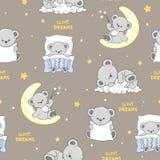 Modèle sans couture mignon de sommeil Teddy Bears illustration stock