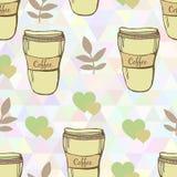 Modèle sans couture mignon de tasses de café de vecteur dessus Illustration de Vecteur