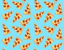 Modèle sans couture mignon de tranche de pizza Photos libres de droits