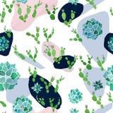 Modèle sans couture minimaliste abstrait Taches de rose de pastel, bleues et noires avec des usines de cactus et d'echeveria d'aq illustration de vecteur