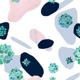Modèle sans couture minimaliste abstrait Taches de rose de pastel, bleues et noires avec des usines d'echeveria d'aquarelle sur l illustration de vecteur
