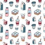 Modèle sans couture moderne avec des laitages dessinés sur le fond blanc - lait, milkshake, yaourt de baie, crème sure, lait cail Image stock