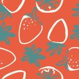 Modèle sans couture moderne de fraise tirée par la main pour votre conception Images libres de droits